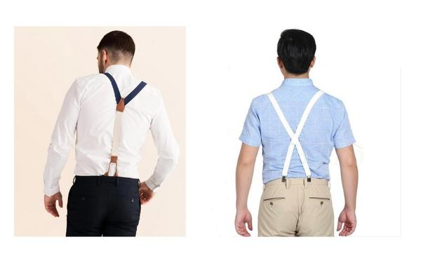 fat guys comparing x and y suspender styles