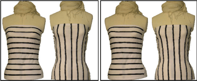 horizontal vs vertical strips on a mannequin