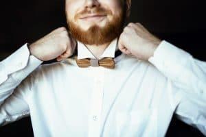fat guy wearing a quality barrel cuff dress shirt white
